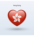 Love Hong Kong symbol Heart flag icon vector image
