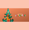 merry christmas papercut pine tree gift box banner vector image