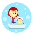 Mom Bathing Her Baby vector image vector image
