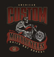 motorcycle vintage colorful badge vector image vector image