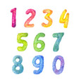 numbers cartoon kids set fluffy watercolor vector image vector image