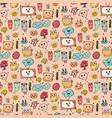 pattern with hand drawn doodle lovely background vector image vector image