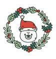 polar bear wreath holly berry celebration merry vector image vector image