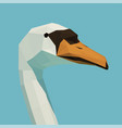polygonal white swan on water vector image vector image