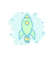 rocket space ship icon in comic style spaceship vector image vector image