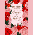 rose flowers for save the date card vector image vector image