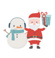 santa and snowman with gift celebration merry vector image vector image