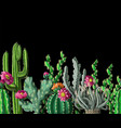 seamless border with cactus and flowers vector image vector image