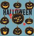 Set Of Vintage Happy Halloween pumpkins Halloween vector image vector image