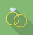 Simple ring and ring with diamond or jewel Flat vector image