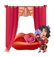 Stripper of cabaret in a room for love tryst vector image