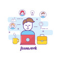 teamwork and man with laptop media technology vector image