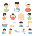 the sick man cartoon icons in set collection for vector image vector image