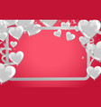 valentines background with white hearts balloons vector image vector image