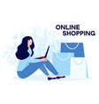 young woman siiting with laptop and purchasing vector image