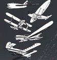 Soviet retro planes collection vector image