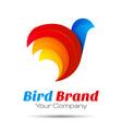 Colorful 3d Volume Logo Design Bird sparrow vector image