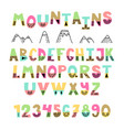 mountains font hand drawn english alphabet cute vector image