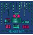 mermaid party elements underwater kids party vector image