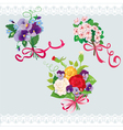 Set of holidays bouquets with sakura roses pansies vector image