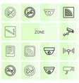 14 zone icons vector image vector image