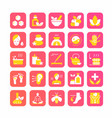 ayurveda icons set cartoon ayurvedic collection vector image