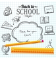 Back to school message on paper with speech bubble vector image vector image