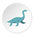 blue elasmosaurine dinosaur icon circle vector image