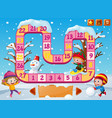 boardgame template with kids playing in snow vector image vector image