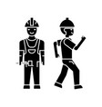 builder man black icon concept builder man vector image vector image