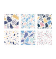 collection terrazzo geometric textures bundle vector image