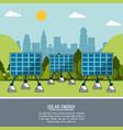 color landscape background solar energy panels vector image vector image