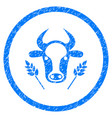 cow and wheat agriculture rounded grainy icon vector image vector image