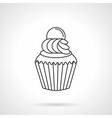 Cream cupcake flat line icon vector image