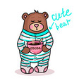 cute teddy bear 2 vector image vector image