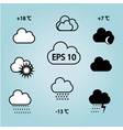 different clouds with the sunrainweather symbols vector image vector image