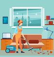 flat woman vacuum cleaner in room - cleaning woman vector image vector image