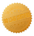 gold iso 13485 certified badge stamp vector image vector image