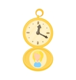Golden pocket watch icon cartoon style vector image vector image