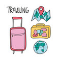 hand drawn set of travel doodles vector image