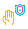 hand shield with cross icon outline vector image vector image