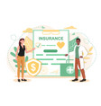 health insurance concept people with clipboard vector image