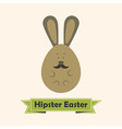 Hipster Easter Greeting Card with Rabbit with vector image