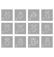 icon set with chinese zodiac signs vector image vector image