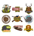 icons hunting club or hunt open season vector image vector image