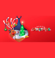 merry christmas paper cut deer bauble ball banner vector image