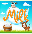 milk tag with cow and pail on green grass vector image vector image
