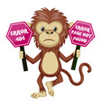 monkey with 404 error sign on white background vector image