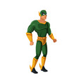 muscular man superhero in mask suit boots gloves vector image vector image