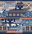 norwegian traditional knitted jacquard patchwork vector image